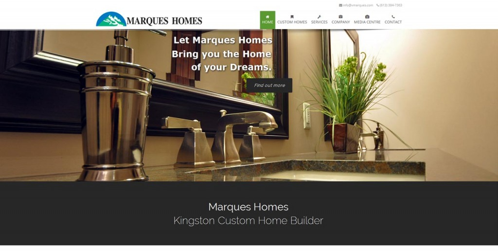 Marques Homes Kingston website design