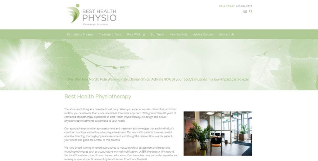 best health physiotherapy website upgrade